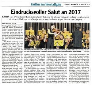 Westallgäuer Zeitung vom 18.01.2017